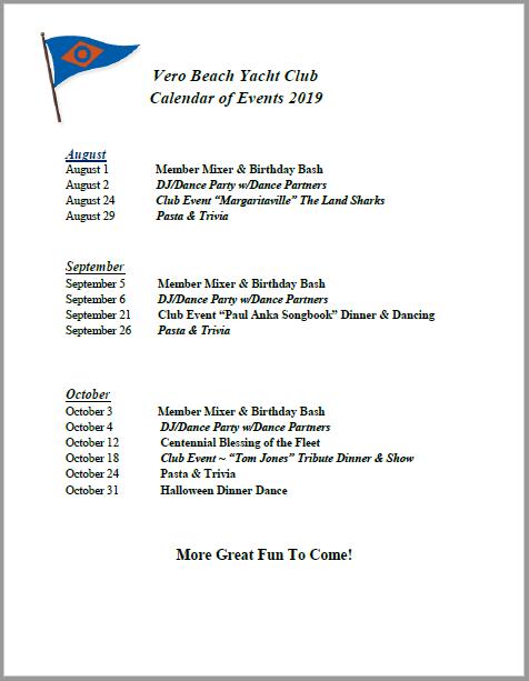 6 Month Social Calendar - Vero Beach Yacht Club